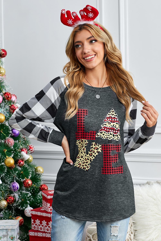 黑白格子拼接长袖圣诞元素印花舒适上衣 LC2532682