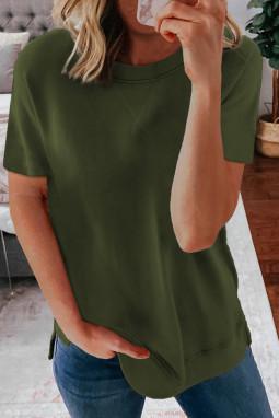 绿色圆领短袖简约休闲纯色T恤衫
