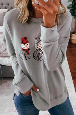 灰色落肩长袖可爱圣诞雪人休闲套头衫