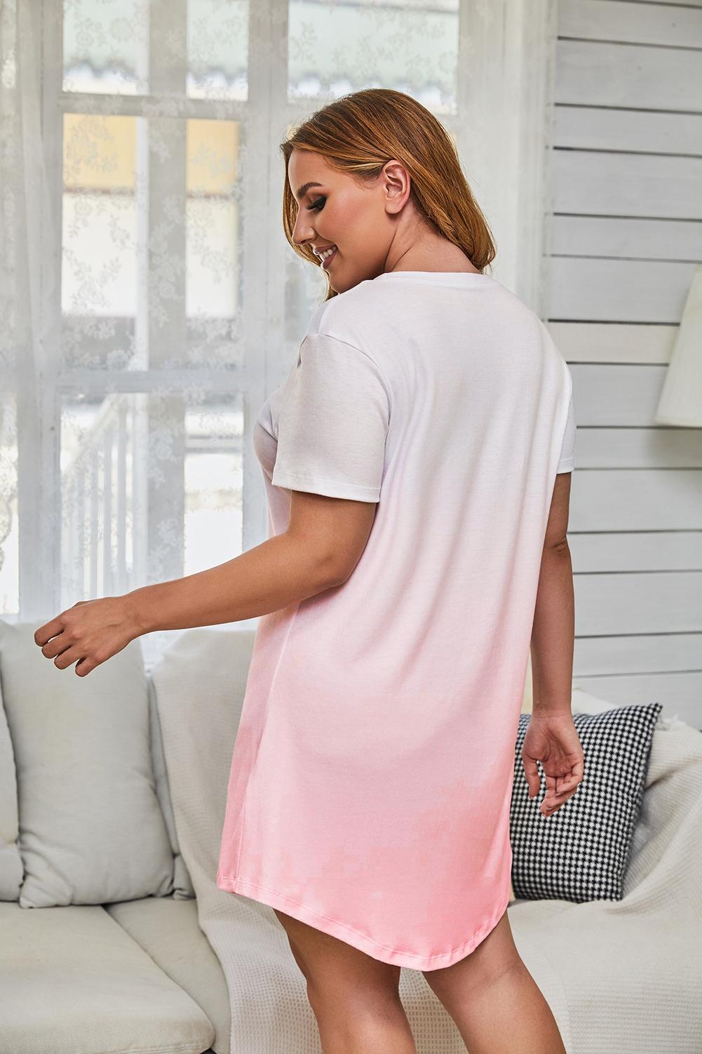 甜美粉色渐变圆领短袖休闲大码迷你连衣裙 LC31327