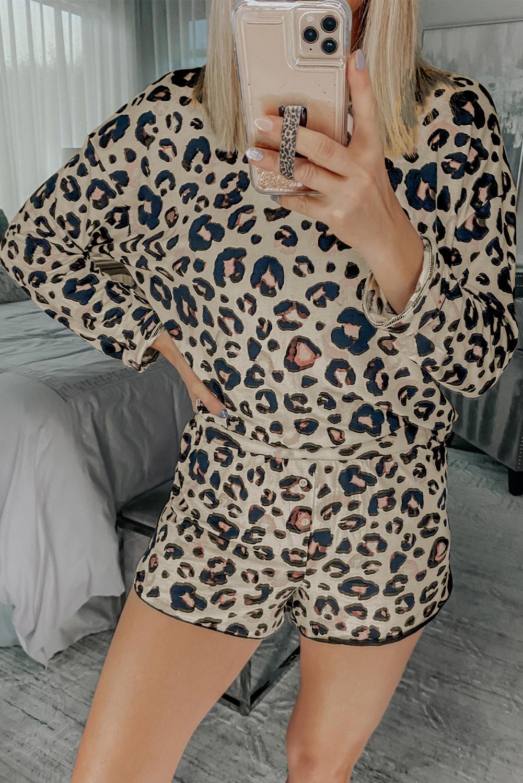 女士圆领长袖上衣和短裤豹纹休闲居家睡衣套装 LC451626