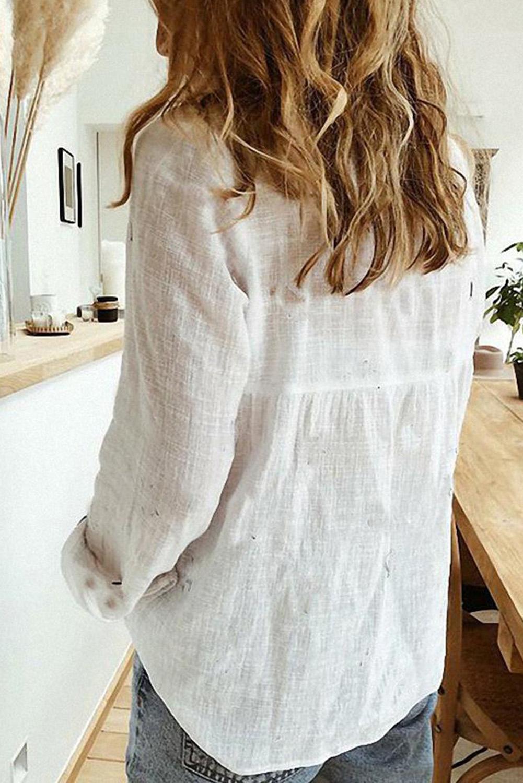 白色排扣长袖简约女士衬衫 LC255378