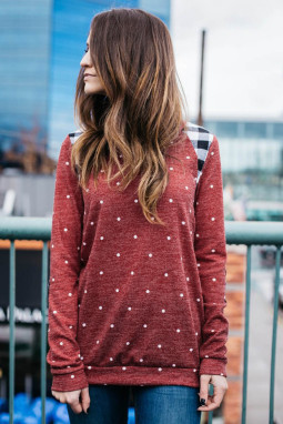 红色长袖波点格子补丁温暖舒适女士卫衣