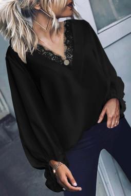 黑色精美蕾丝V领气球袖宽松舒适女士上衣