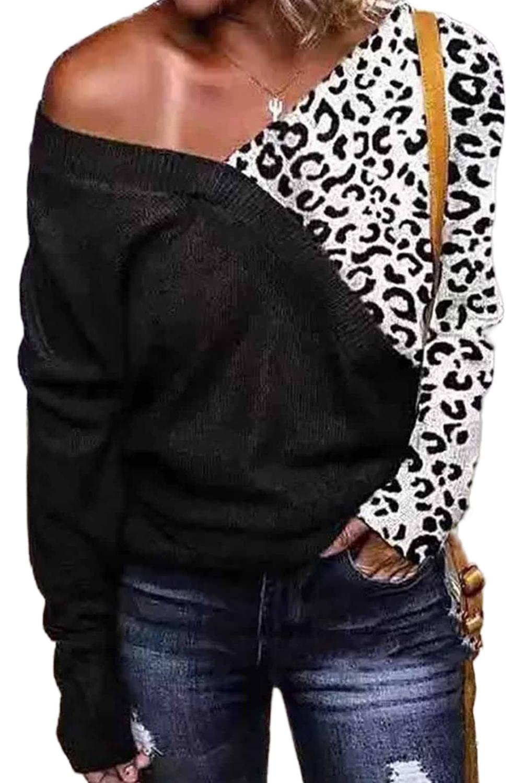 黑色宽领豹纹拼接针织长袖舒适毛衣 LC272287