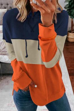 橙色抽绳色块拼接休闲长袖套头帽衫