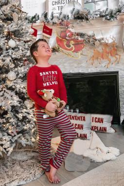 红色长袖圣诞字母条纹长裤儿童款假日居家休闲服套装