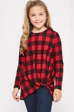 红色格子圆领扭结下摆宽松长袖舒适女童上衣