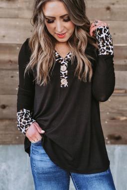时尚豹纹拼接罗纹针织黑色长袖女士上衣