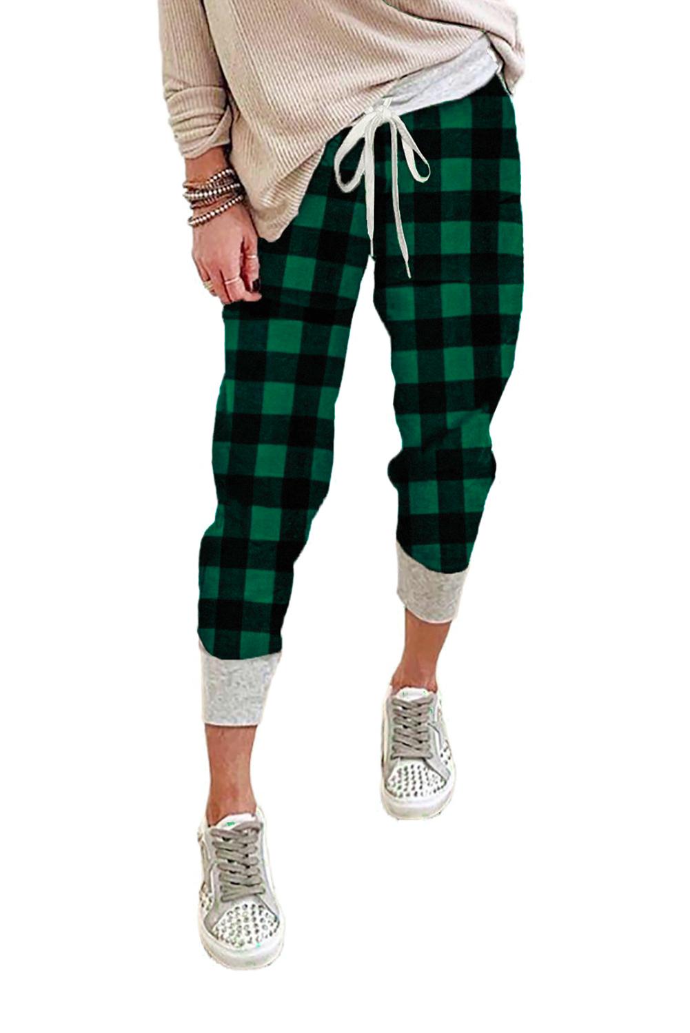 绿色格子抽绳运动休闲裤 LC77955