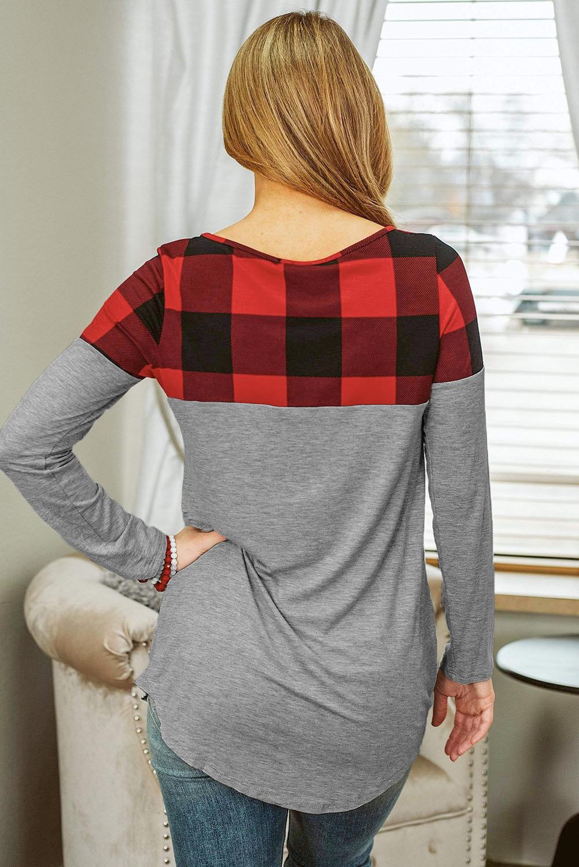 红色格纹拼接休闲宽松长袖上衣 LC2521712