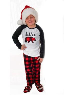 可爱熊长袖上衣格纹长裤儿童款假日居家休闲服套装