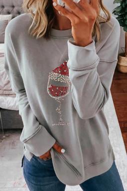 灰色落肩长袖时尚圣诞印花休闲套头衫