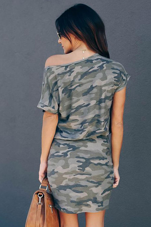灰色迷彩单斜肩短袖宽松休闲迷你连衣裙 LC223362