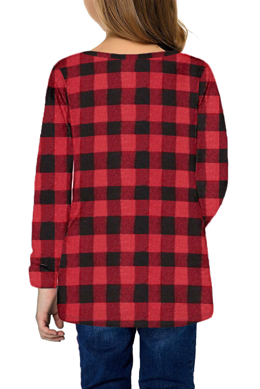 红色格子圆领扭结下摆宽松长袖舒适女童上衣 TZ25144