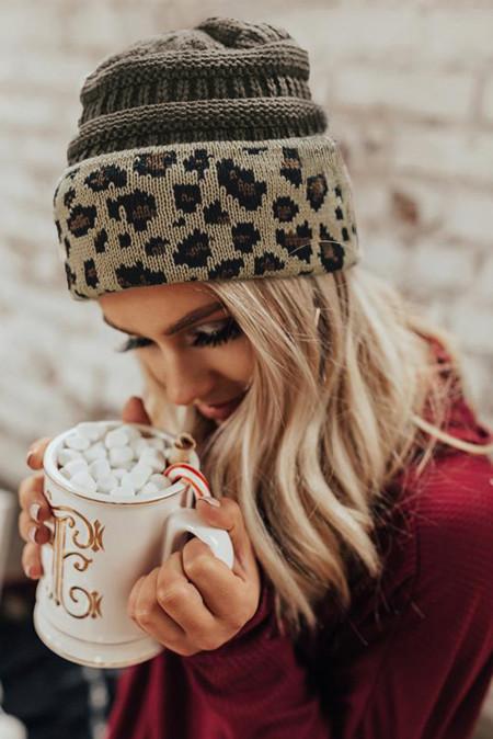 灰色针织豹纹毛线帽 LC02151