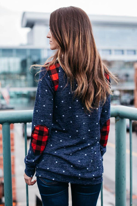 深蓝色长袖波点格子补丁温暖舒适女士卫衣 LC2532759