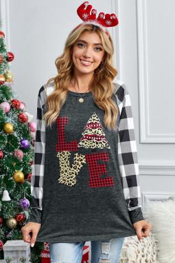 黑白格子拼接长袖圣诞元素印花舒适上衣