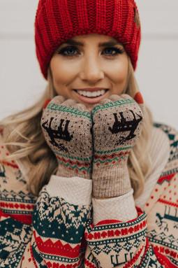 卡其色圣诞驯鹿印花针织手套
