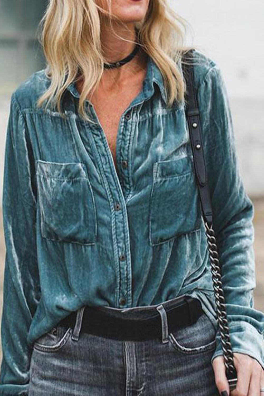 复古天鹅绒舒适口袋长袖纽扣衬衫 LC255347