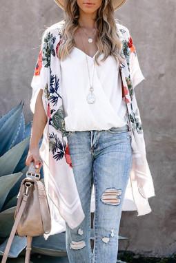 白色和服式短袖度假花卉印花罩衫