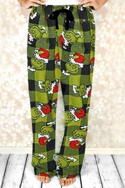 绿色格纹圣诞休闲裤