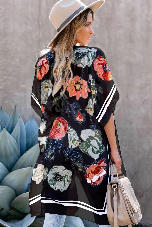 黑色和服式短袖度假花卉印花罩衫 LC254279