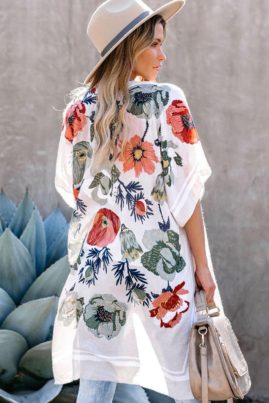 白色和服式短袖度假花卉印花罩衫 LC254279