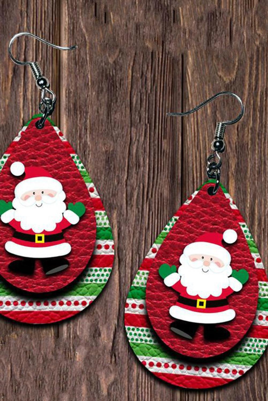 可爱圣诞老人双层耳环 LC01731