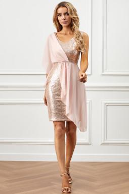 粉色垂褶雪纺拼接亮片连衣裙