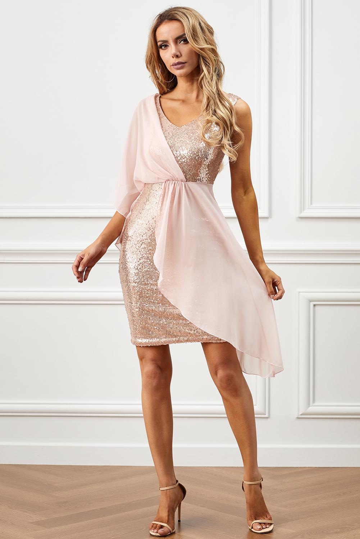 粉色垂褶雪纺拼接亮片连衣裙 LC611834