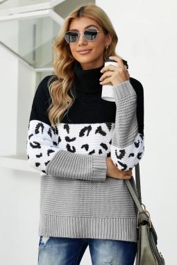 黑色高领斑纹印花拼色针织长袖套头毛衣 LC272502