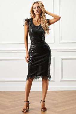 优雅亮片羽毛饰边黑色连衣裙礼服