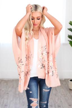 粉色可爱雏菊轻盈和服式罩衫
