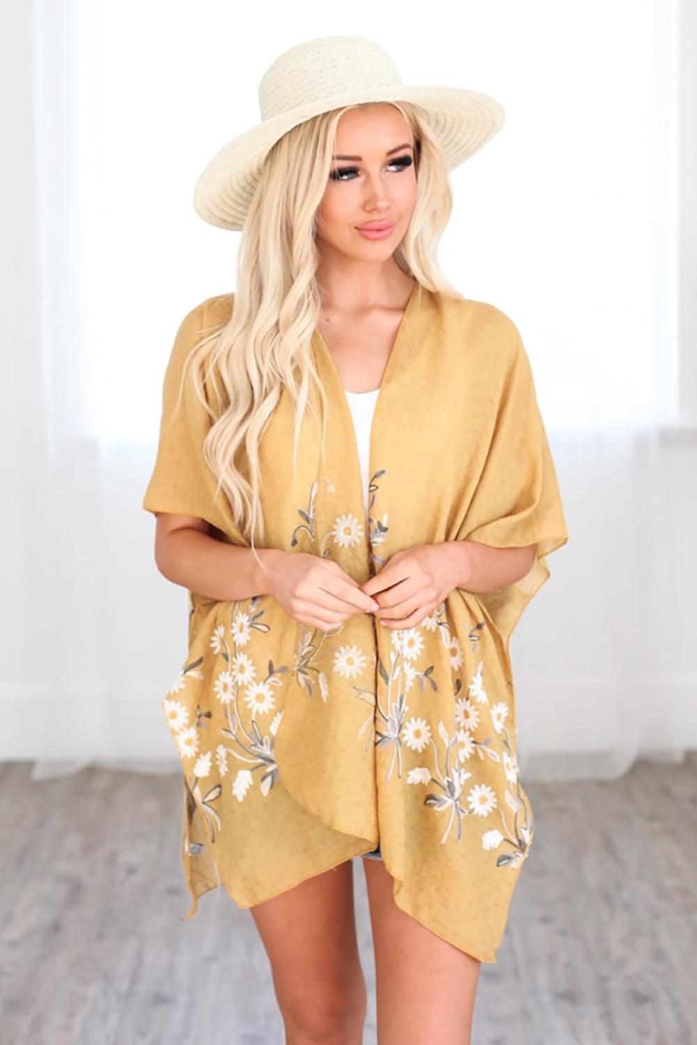 黄色可爱雏菊轻盈和服式罩衫 LC254253