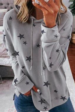 灰色星星印花长袖侧开衩休闲舒适连帽衫
