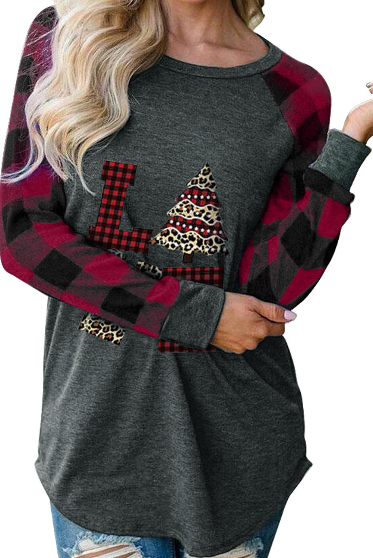 红色格子拼接长袖圣诞元素印花舒适上衣 LC2532682