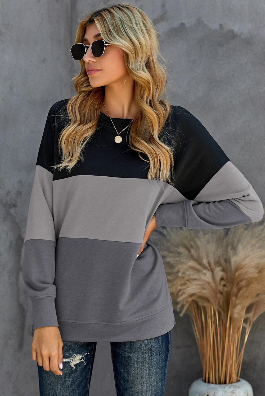 黑色拼色休闲对比色长袖套头卫衣 LC2532980