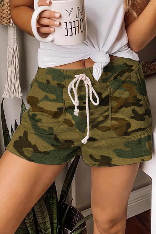 绿色迷彩抽绳休闲短裤 LC77923
