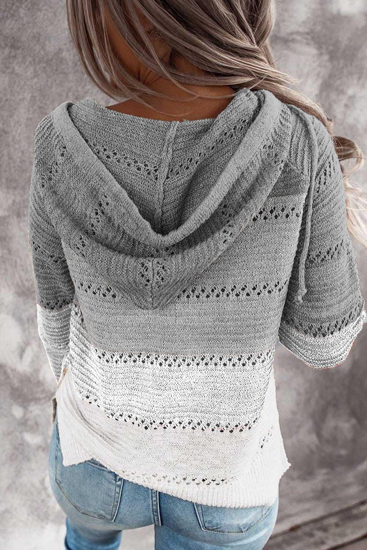 灰色时尚拼色宽松舒适长袖套头连帽衫 LC253742