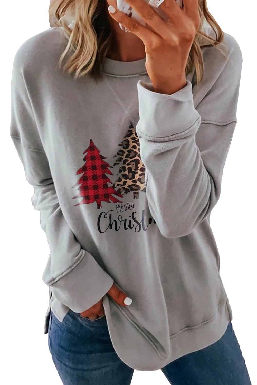 灰色落肩长袖时尚圣诞树印花休闲套头衫 LC2534017