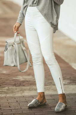 白色时尚褶裥设计侧拉链修身休闲裤