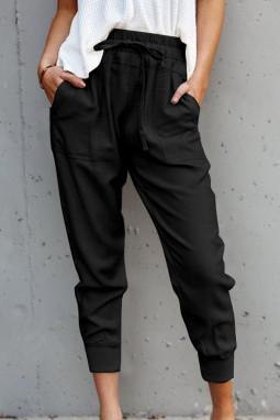 黑色舒适抽绳口袋休闲裤