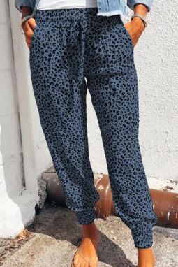 蓝色豹纹抽绳宽腰束脚运动休闲裤