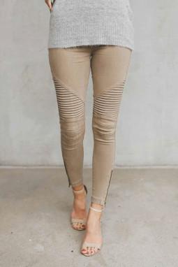 卡其色时尚褶裥设计侧拉链修身休闲裤