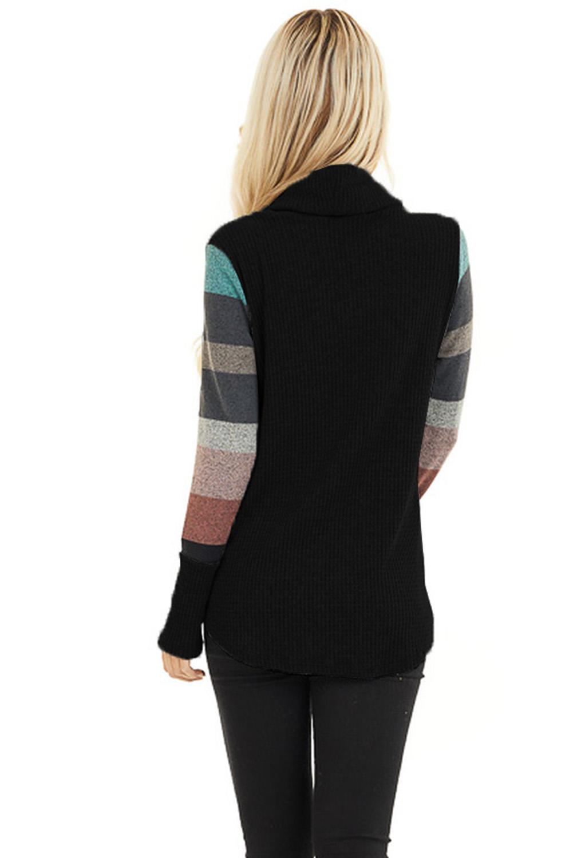 黑色兜帽领拼色条纹长袖休闲针织上衣 LC2512538
