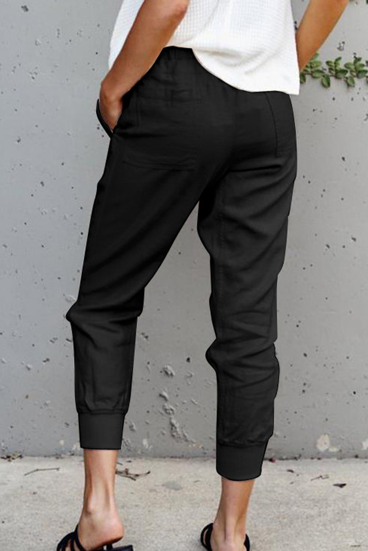 黑色舒适抽绳口袋休闲裤 LC77688