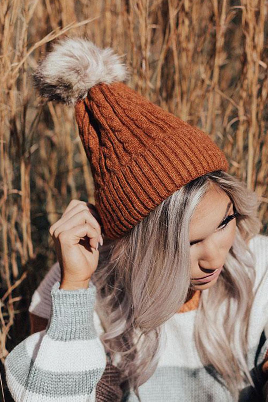 保暖绒球褐色罗纹针织帽 LC02129