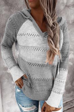 灰色时尚拼色宽松舒适长袖套头连帽衫