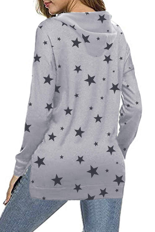 灰色星星印花长袖侧开衩休闲舒适连帽衫 LC2534116